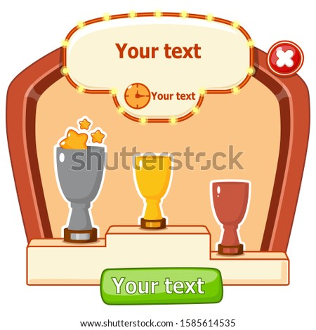 Mobile game interface, graphical interface. Game interface Pop up game menu, template. Cups, won places., Countdown. Buttons on the frame: play, close. Places for your text and time.