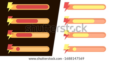 Mobile game UI, GUI. Game interface. Set of status icons of energy and activity, amass of lightning, energy strip filling. Interface for game design. Light and dark background, and night and day mode. Photo stock ©
