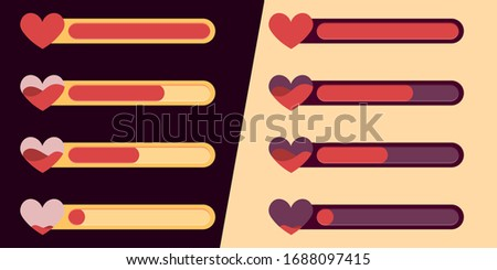 Mobile game UI, GUI. Game interface. Set of status icons of life and health, amass of heart. Interface for game design. Light and dark background, and night and day mode. Photo stock ©
