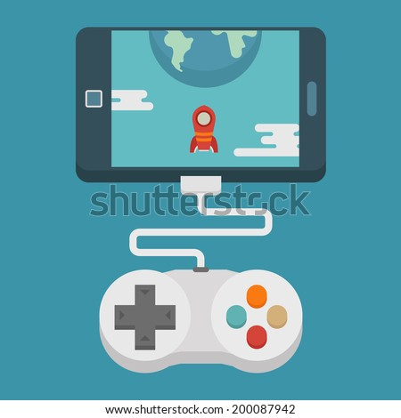 mobile gaming concept    flat