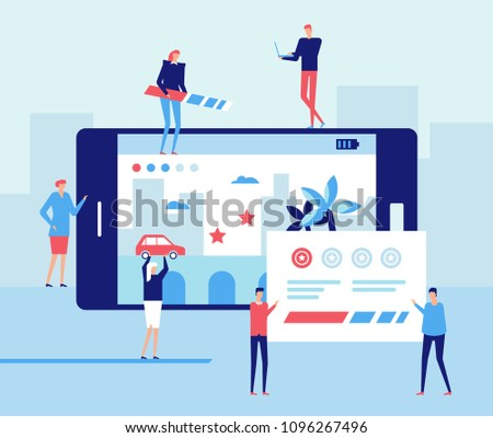 Mobile gaming development - flat design style illustration. Metaphorical composition with big smartphone, workers and designers, fixing the interface
