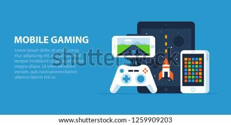 Mobile gaming illustration in modern flat style. Smartphone and a tablet with simple games, mobile gamepad.