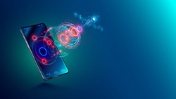 Mobile global internet communications. World wide web on phone via wireless satellite network technology. Smartphone digital connection at clouds services of all earth. Holographic abstract interface.