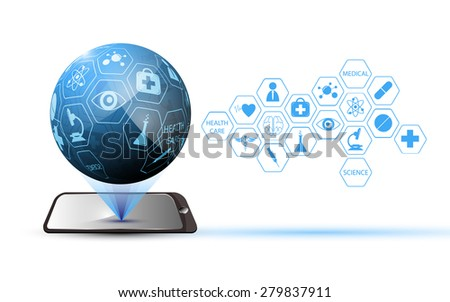 mobile global technology medical science and health care concept