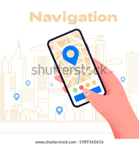 Mobile GPS navigation on smartphone app. Modern application design. Find the way with phone in hand.Blue poi points on city map. GPS tracking map. Locate position technology. Global positioning system Photo stock ©