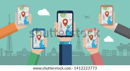 mobile gps navigation service flat illustration.  Hand-holding mobile phone with map application ( Tokyo city sightseeing )