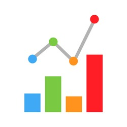 Mobile Graph Vector Icon. Simple flat chart ico colorful progressive. Diagram finance business growth infographic bar