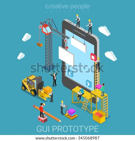 mobile gui prototype flat 3d