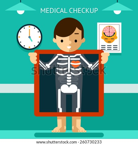 Mobile health mHealth, diagnosis and monitoring of patients using mobile devices. Medical and care, digital and x-ray. Vector illustration