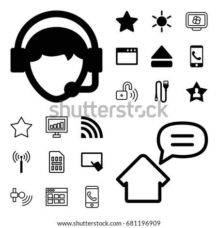 Mobile icon. set of 20 mobile filled and outline icons such as signal tower, sun, finger on tablet, star, operator, eject button, favourite user, wire, phone call, signal