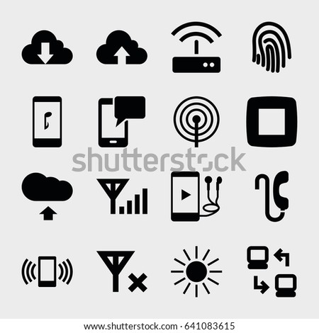 mobile icon set of 16 mobile