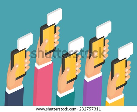 Mobile instant messenger chat, hands with smartphones and dialog bubbles. Isometric 3d Flat design vector illustration