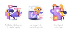Mobile intelligent interface, automated SEO advertisement. Artificial intelligence in social media, AI-powered marketing tools, metaphors. Vector isolated concept metaphor illustrations.