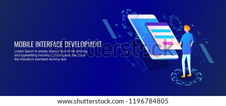 Mobile interface design, App development flat style 3D isometric banner with character