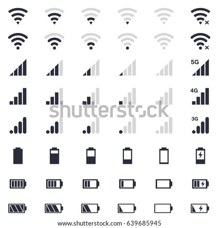 mobile interface icons, battery power charge, wi-fi signal and connection level sign set