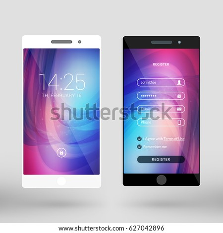 Mobile interface wallpaper design. Abstract vector background. Modern smartphone application interface elements. Black and white smartphones