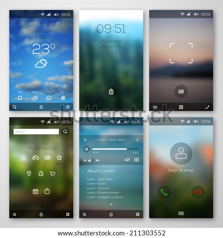 Mobile interface wallpaper design and icons. Vector illustration. Blurred landscapes. Weather, multimedia, player, call, camera interfaces.