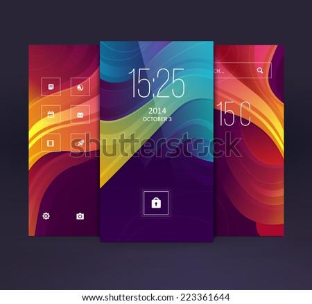 Mobile interface wallpaper design. Vector