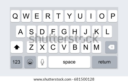 Mobile keyboard for smartphone iPhone. Keypad template. Vector illustration