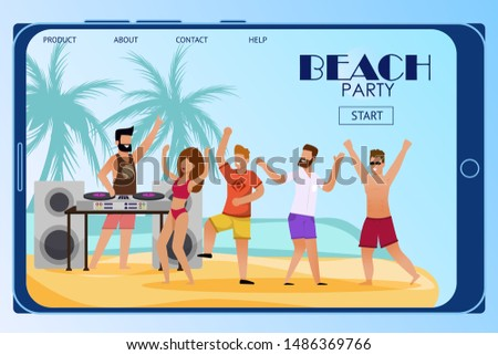 Mobile Landing Page Inviting to Beach Party. Flat Cartoon People Characters Crowd Dance on Sand under DJ Music. Disc Jockey Mixing Tracks on Turntable. Open Air Discotheque. Vector Summer Illustration Сток-фото ©