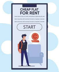 Mobile Landing Page Offers Cheap Flat for Rent with Cartoon Male Student Character and Advertising Text. Webpage or Stories for Online Real Estate Agency. Lower Income Apartment. Vector Illustration