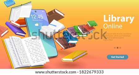 Mobile Library, Reading Books Online, Distance Education. 3D Isometric Flat Vector Conceptual Illustration.