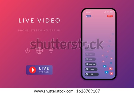 Mobile live streaming stories screen. Vector online video chat frame design, social media network post template. Story interface display mobile application mock up illustration Stock photo ©
