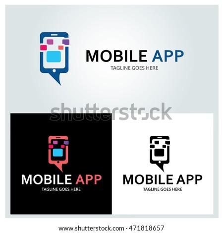 Mobile logo design template ,App logo design concept ,Vector illustration