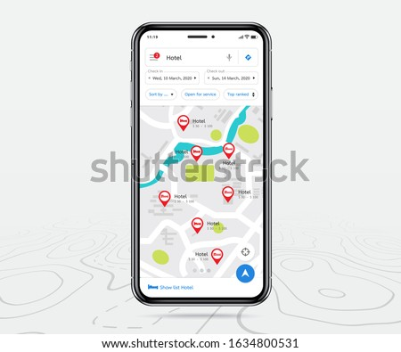 Mobile map gps, Smartphone map application and red pinpoint on screen, App search map navigation, isolated on line maps background, Vector illustration for graphic design