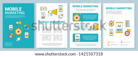 Mobile marketing  brochure template layout. Target audience advertising. Flyer, booklet, leaflet print design with linear illustrations. Vector page layouts for magazines, reports, advertising posters
