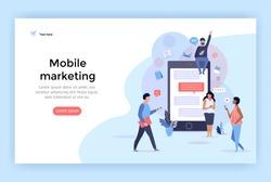 Mobile marketing concept illustration, perfect for web design, banner, mobile app, landing page, vector flat design.