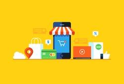 Mobile marketing , e-marketing, e-comerce, app store. Flat design style modern vector illustration.