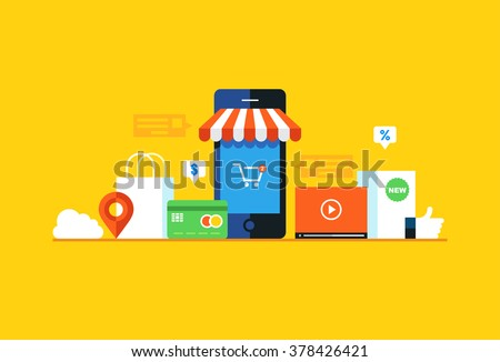Mobile marketing , e-marketing, e-comerce, app store. Flat design style modern vector illustration.