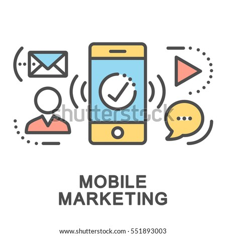 Mobile marketing icons. Mini illustration. Promotion of goods or services using a mobile communication means. The thin contour lines with color fills on white background.