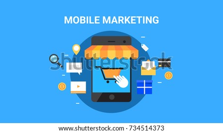Mobile marketing, Mobile commerce flat design vector banner with icons