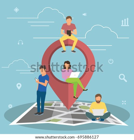 Mobile marketing with map tag concept illustration of young people using mobile smartphone to find shopping mall, events and offers. Flat guys and women sitting on the map with red pin symbol.