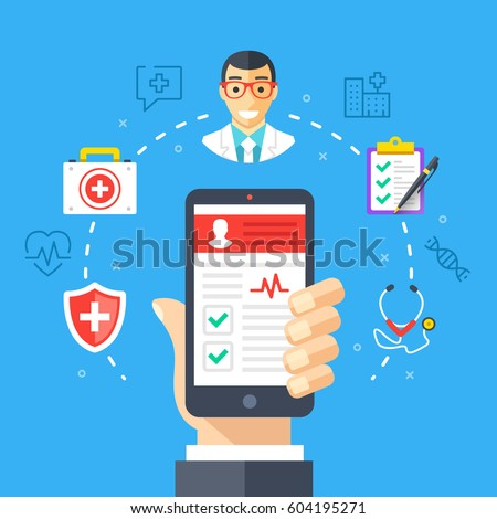 Mobile medicine, mhealth, online doctor. Hand holding smartphone with medical app. Modern flat design graphic concept, thin line icons set for web banners, websites, infographics. Vector illustration