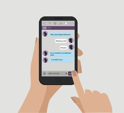 Mobile message. Happy Halloween text. Mobile phone in hands. Vector illustration, EPS 10.