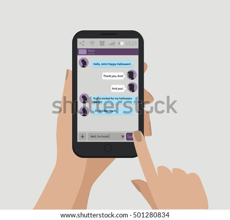 Shutterstock Mobile message. Happy Halloween text. Mobile phone in hands. Vector illustration, EPS 10.