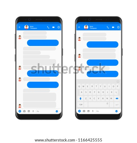 Mobile modern ui kit messenger on the smartphone screen. Chat app template with empty chat bubbles with mobile keyboard. Phone Social network concept. Vector illustration.
