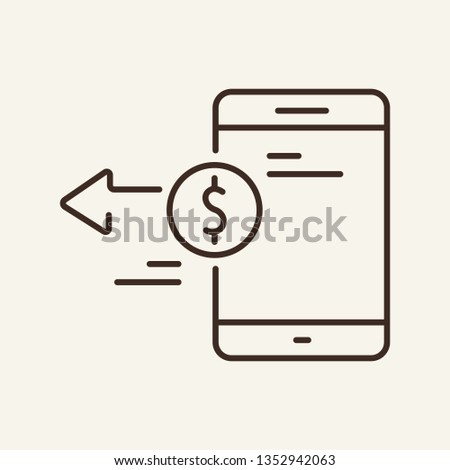Mobile money transfer line icon. Smartphone, device, shopping. Banking concept. Can be used for topics like investment, consumerism, deposit