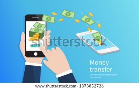 Mobile money transfer. Vector Illustration Photo stock ©