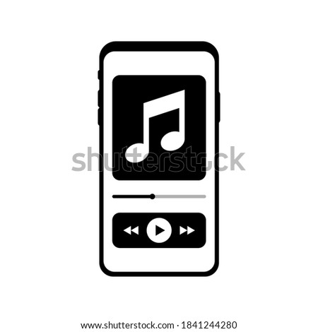 Mobile music player. Phone playing audio. Smartphone player. Phone music player icon in abstract style. Phone icon vector. Template media player. Play button. App interface template. EPS 10