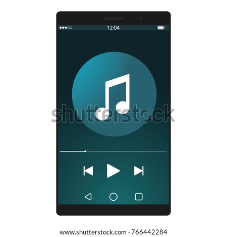 Mobile music player vector icon illustration flat design