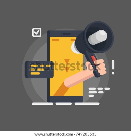 mobile notification message vector concept, smartphone with hand hold speaker gramophone isolated on gray background