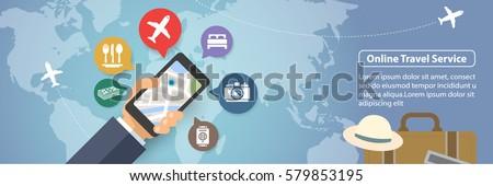 Mobile online travel service vector banner