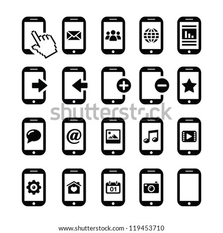Mobile or cell phone, smartphone, contact icons set