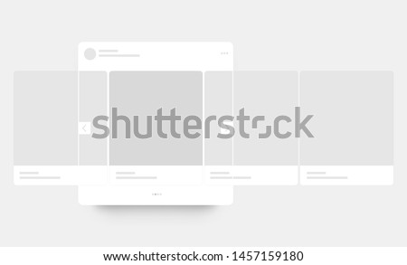 Mobile page with interface carousel post on social network. Vector illustration