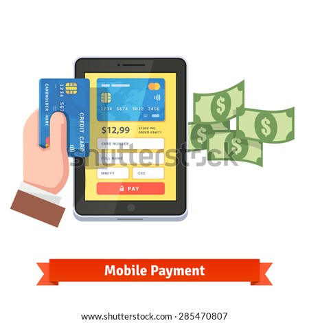 Mobile payment concept. Human hand holding credit card over tablet computer with flying dollars. Flat style vector icon.