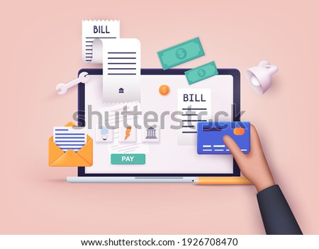 Mobile payment concept. Phone laying down on bill heap. Payment of utility, bank, restaurant and other. 3D Vector Illustrations.